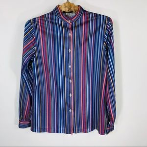 Vintage Mandarin Collar Striped Blouse Blue Pink